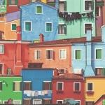 วอลเปเปอร์วินเทจ อาร์ต ลายบ้านหลายสี