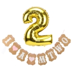 I AM TWO Birthday Set (Balloon + Flag) for Girl