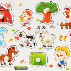 จิ๊กซอว์ไม้หมุด ชุดฟาร์มเลี้ยงสัตว์ มีพื้นหลัง ขนาด 30X20 เซนติเมตร