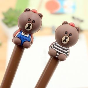 ปากกาตัวหมีสีน้ำตาล เจลน้ำเงิน (คละลาย) 96 บาท/โหล 12ชิ้น/โหล