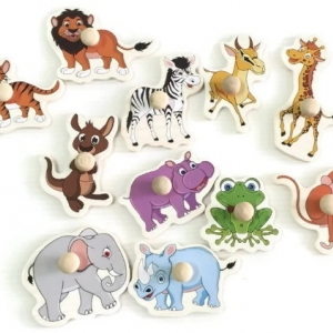 จิ๊กซอว์ไม้หมุด รูปสัตว์ต่างๆ มีพื้นหลัง ขนาด 30X20 เซนติเมตร