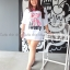 Dress oversize คอวี 2tone สกรีน pink panter