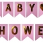 BABY SHOWER with Gold Letters Flag (for Girl)