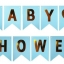BABY SHOWER with Gold Letters Flag (for Boy)